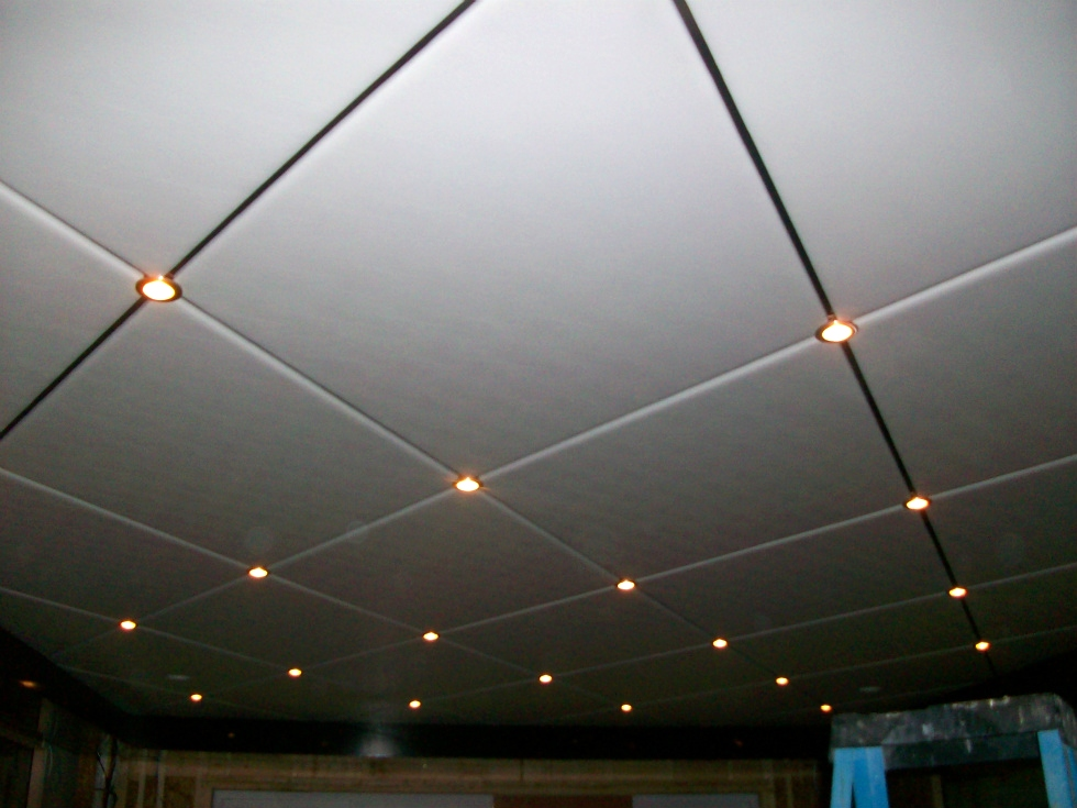Houseboat Refurbishing Diamond Pattern Ceiling Panels With